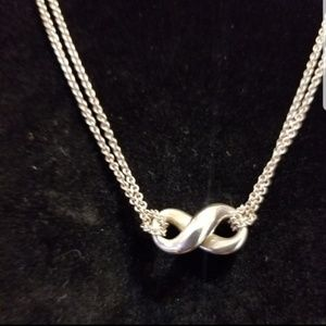 Tiffany &Co Silver Double Strand Infinity Necklace